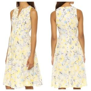 Rebecca Taylor Aloha Print Pintuck Dress Limon